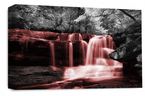 Waterfall Wall Art Red Grey White Landscape Canvas Forrest Picture